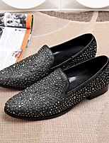 Men's Loafers & Slip-Ons Club Shoes Novelty Cowhide Party & Evening Rhinestone Gray Walking
