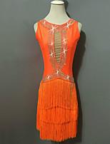 Latin Dance Dresses Women's Performance Spandex Crystals/Rhinestones Tassel(s) 1 Piece Sleeveless High