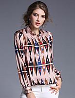 Chemisier Femme,Imprimé Travail simple Manches Longues Col Ras du Cou Polyester