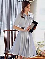 Для женщин На выход На каждый день Праздник Очаровательный Уличный стиль Изысканный Оболочка Шифон С летящей юбкой Платье Однотонный,