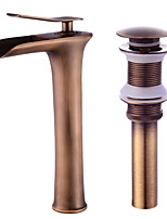 Contemporary Centerset Waterfall with  Ceramic Valve Single Handle One Hole for  Antique Copper , Bathroom Sink Faucet