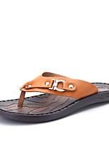 Для мужчин Тапочки и Шлепанцы Удобная обувь Полиуретан Весна Лето Повседневный Бусины На плоской подошве Коричневый Темно-коричневыйНа