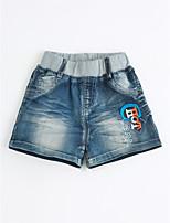 Unissex Jeans Casual Cor Única Verão Algodão