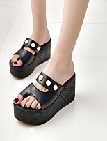 Women's Slippers & Flip-Flops Flange All Match Fashion Spring Summer Club Shoes Comfort Dress Casual Wedge Heel Pearl Black White