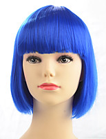 Hot Sale Blue Color Wig Synthetic Wig Short Bob Straight Style Fashion Women Wig For Party