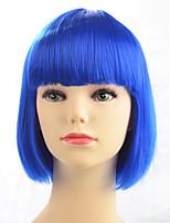 Парик шнурка типа парика синтетического парика горячего сбывания голубой короткий прямой для партии