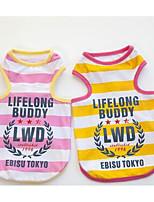 Собаки Футболка Одежда для собак Весна/осень В клетку Милые Мода На каждый день Желтый Розовый