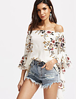 Women's Going out Casual/Daily Cute Street chic Spring Summer Blouse,Floral Boat Neck Long Sleeve Polyester Medium