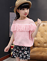 Girls' Fashion And Lovely Chiffon Tassel T-shirt Coat  Small Broken Flower Shorts Two-Piece Dress