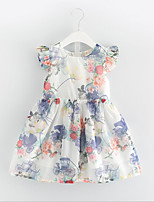 Girl's Casual/Daily Floral Dress,Cotton Polyester Summer Sleeveless