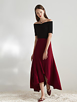 Masked Queen Women's High Rise Going out Casual/Daily Party/Cocktail Midi Skirts,Vintage Simple A Line Solid All Seasons
