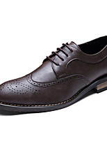 Черный Коричневый-Для мужчин-Свадьба Для офиса Для вечеринки / ужина-Кожа-На плоской подошве-Формальная обувь-Туфли на шнуровке