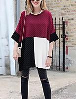 Damen Einfarbig Retro Einfach Ausgehen Lässig/Alltäglich T-shirt,Rundhalsausschnitt Frühling Sommer Kurzarm Polyester Mittel