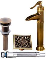 Antique Centerset Waterfall Widespread Pre Rinse with  Ceramic Valve Single Handle One Hole for  Antique Copper , Bathroom Sink Faucet