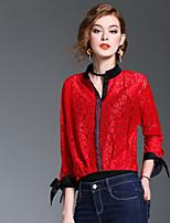 Damen Solide Einfarbig Niedlich Ausgehen Lässig/Alltäglich Hemd,V-Ausschnitt Frühling Sommer Langarm Polyester Mittel
