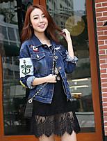 Women's Going out Street chic Fall Denim Jacket,Print Stand Long Sleeve Regular Cotton