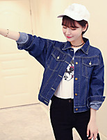 Women's Casual/Daily Simple Spring Denim Jacket,Solid Square Neck Long Sleeve Regular Others