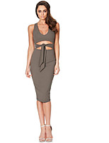 Women's Plus Size Going out A Line Dress,Solid Round Neck Midi Sleeveless Silk All Seasons Mid Rise Stretchy Thin