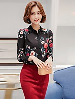 Women's Going out Casual/Daily Beach Sexy Vintage Cute All Seasons Summer Blouse,Floral Shirt Collar Long Sleeve Rayon Thin
