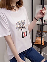 Women's Casual/Daily Simple T-shirt,Print Round Neck Short Sleeve Cotton
