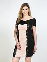 Для женщин На каждый день Вечеринка/коктейль Большие размеры Секси Винтаж Очаровательный Прямое Оболочка Кружева Платье Контрастных цветов