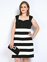 Really Love Women's Plus Size Casual/Daily Party Sexy Cute Street chic Sheath T Shirt Black and White Dress,Striped Color Block Boat Neck Knee-length