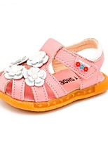 Girls' Sandals Summer Comfort Cowhide Dress Casual Flat Heel Blushing Pink