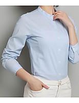 Для женщин Офис Рубашка Воротник-стойка,Простое Однотонный Длинный рукав,Хлопок