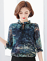 Women's Casual/Daily Simple Blouse,Print Stand ½ Length Sleeve Polyester Thin