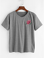 Women's Casual/Daily Simple T-shirt,Solid Round Neck Short Sleeve Cotton Thin