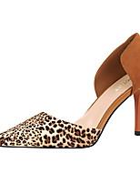 Women's Heels Summer Comfort Leather Dress Stiletto Heel Dark Brown Blushing Pink Red Brown Gray