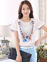 Women's Going out Casual/Daily Simple Cute Summer Shirt,Solid Round Neck ½ Length Sleeve Polyester Medium