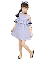 Girl's Casual/Daily Beach Holiday Solid Striped Dress,Cotton Summer Short Sleeve