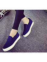 Women's Sneakers Spring Comfort PU Canvas Casual Blue Black White
