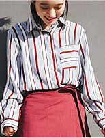 Women's Casual/Daily Vintage Shirt,Striped Shirt Collar Long Sleeve Polyester