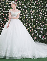 Princess Wedding Dress - Chic & Modern See-Through Beautiful Back Cathedral Train Bateau Lace Tulle withBeading Crystal Lace Pattern