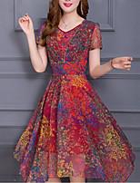 Для женщин На выход Большие размеры Изысканный А-силуэт Шифон Платье С принтом,V-образный вырез До колена С короткими рукавами Полиэстер
