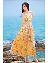Для женщин На каждый день Пляж Праздник С летящей юбкой Платье Цветочный принт С принтом,V-образный вырез Макси Без рукавов Полиэстер