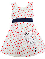 Girls Dress Fashion White Dot Cat Party Pageant Casual Baby Children Clothes