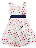 Vestido Chica de Lunares Estampado Algodón Sin Mangas Verano Primavera