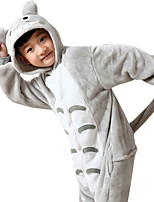 Kigurumi Pajamas Anime Leotard/Onesie Festival/Holiday Animal Sleepwear Halloween Gray Print Animal Print Flannel Cosplay Costumes For Kid