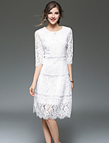 Fashion Wild Round Neck 3/4 Long Sleeves Solid Color Slim Hollow Lace Long Skirt Daily Leisure Dating Home Cocktail Party OL Dress