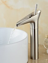 Modern Centerset Waterfall Pre Rinse with  Ceramic Valve Single Handle One Hole for  Nickel Brushed , Bathroom Sink Faucet