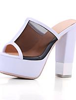 Feminino-Chinelos e flip-flops-Chanel-Salto Grosso--Tule Couro Ecológico-Social Casual