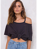 Women's Going out Casual/Daily Street chic Sophisticated Blouse,Solid Boat Neck Short Sleeve Silk Rayon