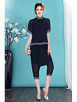 I-YECHO Women's Going out Casual/Daily Cute Spring Summer Shirt Pant SuitsSolid Stand Short Sleeve Mesh Inelastic