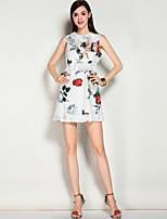 Для женщин На выход На каждый день Пляж Богемный Очаровательный Уличный стиль А-силуэт Платье Цветочный принт,Круглый вырез Выше колена