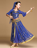 Shall We Belly Dance Outfits Kid Performance Chiffon Spandex Coins Sequins 5 Pieces Dance Costume