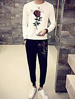Men's Casual/Daily Simple Activewear Set Print Round Neck Micro-elastic Polyester Long Sleeve Spring Fall