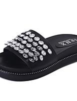 Damen Sandalen Komfort PU Sommer Walking Komfort Glitter Flacher Absatz Weiß Schwarz Unter 2,5 cm
